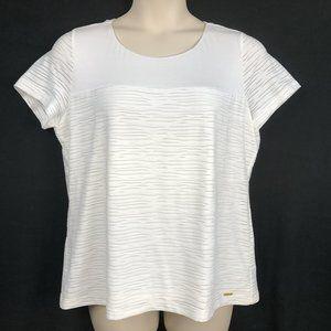 NWT Calvin Klein XL White Knit Texture Lined Top